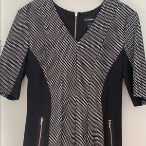 Grey and black dress with zippered pockets